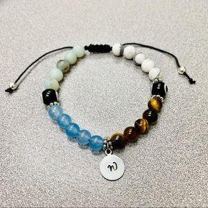 Jewelry - Handmade Engraved Gemstone Evil Eye Bracelet